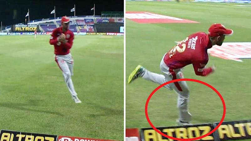 Glenn Maxwell catching the ball (pictured left) and throwing it back to teammate Jimmy Neesham (pictured right).