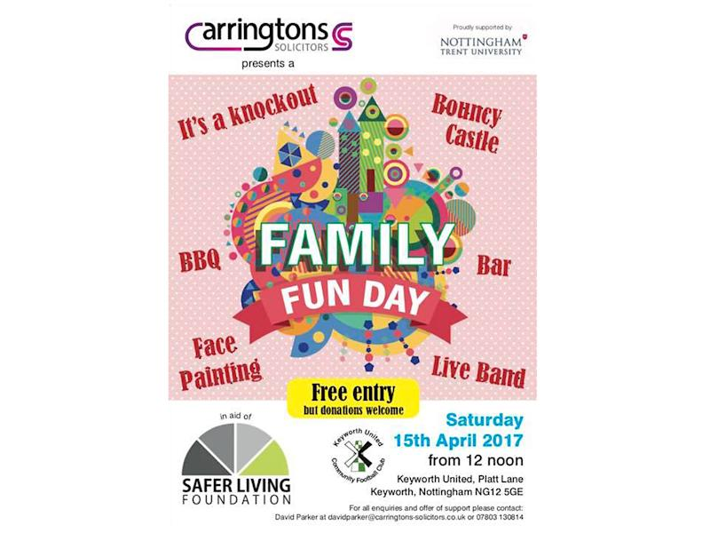 The poster for the fun day states that it is in aid of the Safer Living Foundation, but not the nature of the work the charity does: Facebook