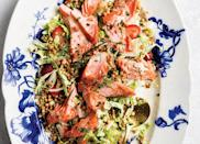 """<h2>14. Salmon and Fennel Dinner Salad</h2> <p>Plant-based yogurt lends the dressing an indulgent feel, but it's actually pretty healthy. (So you can eat more cookies, of course.)</p> <p><a class=""""link rapid-noclick-resp"""" href=""""https://www.purewow.com/recipes/salmon-fennel-dinner-salad"""" rel=""""nofollow noopener"""" target=""""_blank"""" data-ylk=""""slk:Get the recipe"""">Get the recipe</a></p>"""