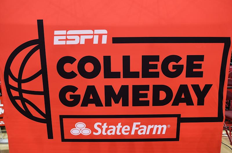 COLLEGE PARK, MD - FEBRUARY 29: The ESPN College GameDay logo at the Xfinity Center on February 29, 2020 in College Park, Maryland. (Photo by G Fiume/Maryland Terrapins/Getty Images)