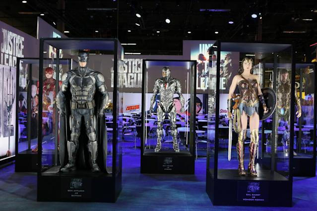 <p>Batman and Wonder Woman, flanked by Flash, Cyborg, and Aquaman, form the key super friends in the upcoming film — minus a certain Kryptonian, of course. (Credit: Warner Bros.) </p>