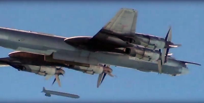 Russian Defence Ministry images from November 2015 show a Russian fighter plane dropping a cruise missile during an airstrike in Syria