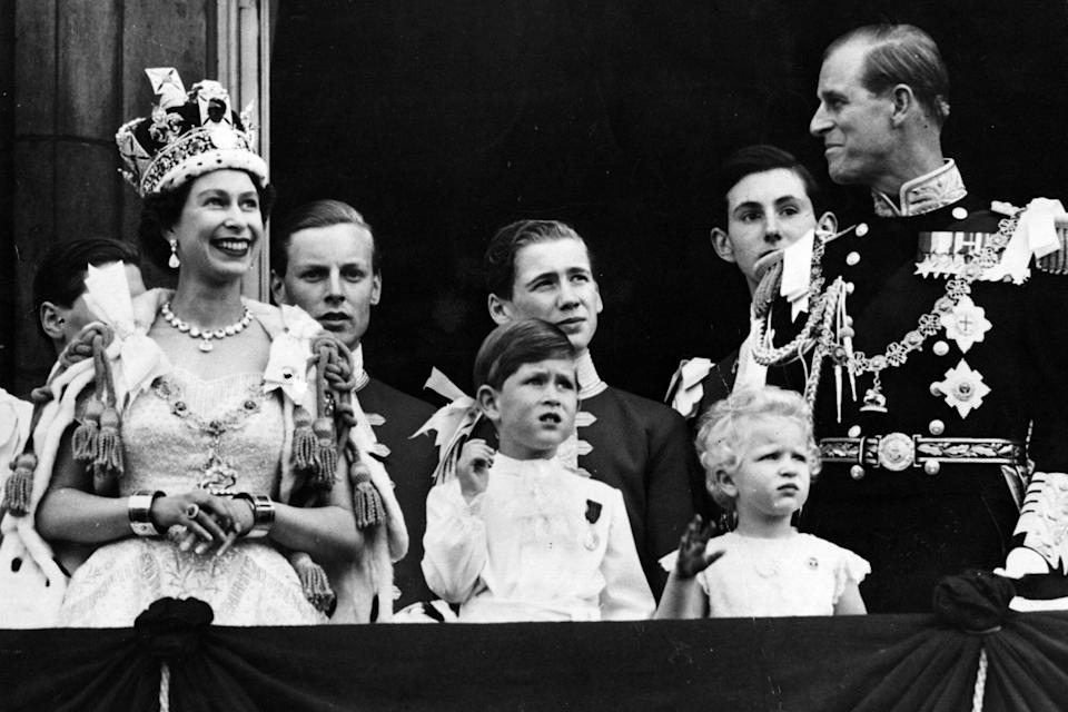 Queen Elizabeth II on the balcony of Buckingham Palace after her Coronation ceremony