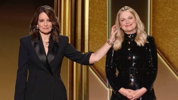 Golden Globes hosts Tina Fey, left, and Amy Poehler, opened the show from New York and Beverly Hills, Calif., respectively.