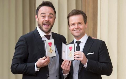 Ant and Dec with their OBE's for services to Broadcasting and Entertainment - Credit: Geoff Pugh
