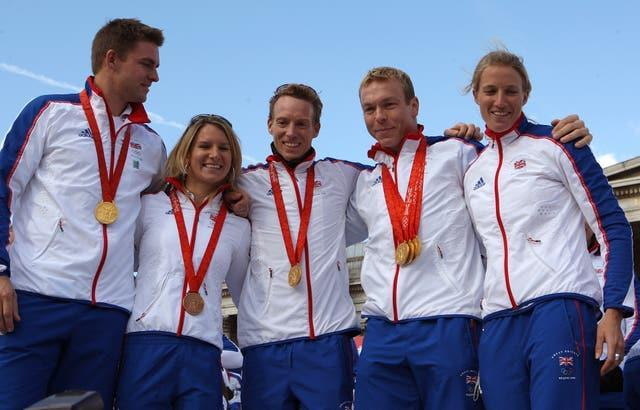 Members of Team GB show off their gold medals