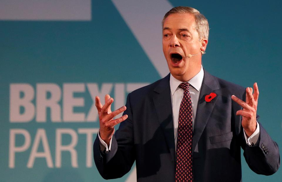 Brexit Party leader Nigel Farage speaks at an event, where the Brexit Party is introducing 600 parliamentary candidates running in the general election, in London, Britain November 4, 2019. REUTERS/Yara Nardi