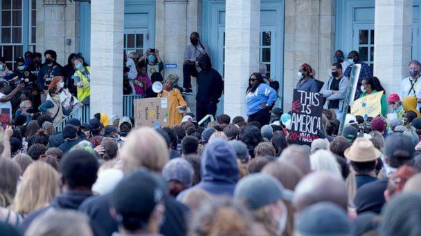 PHOTO: Crowd listening to a speaker on the steps of the Asbury Park post office. (David Ziegler)