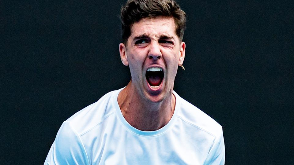Thanasi Kokkinakis, pictured here during his match against Stefanos Tsitsipas at the Australian Open.