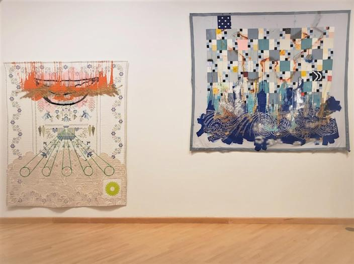 Sanford Biggers uses antique quilts, rather than canvas, as the backing for his paintings.