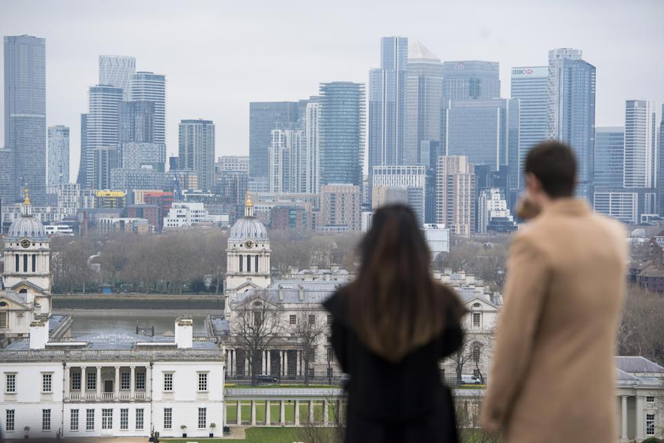 People look at the London skyline, from Greenwich Park in London. Picture date: Saturday March 20, 2021. (Photo by Kirsty O'Connor/PA Images via Getty Images)
