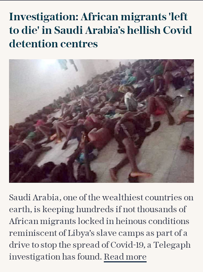 Investigation: African migrants 'left to die' in Saudi Arabia's hellish Covid detention centres