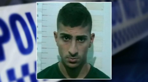 Maximum security inmate Bourhan Hraichie, 18, is alleged to have carved 'e4e' into the head of a cellmate on Thursday afternoon at Kempsey prison. Photo: 7 News