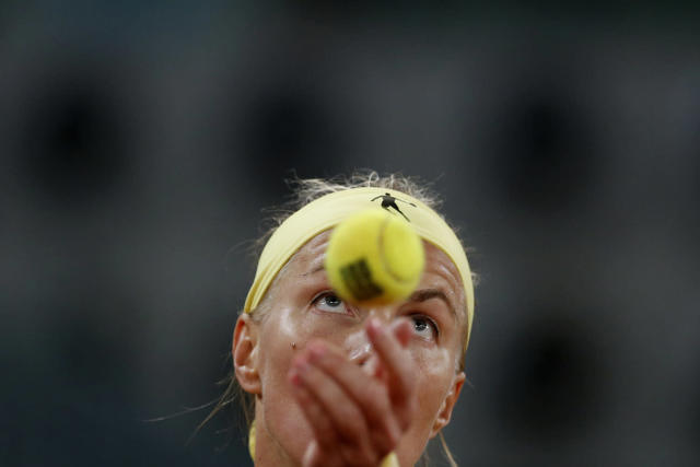 <p>Svetlana Kuznetsova from Russia serves the ball to Kristina Mladenovic from France during a Madrid Open tennis tournament match in Madrid, Spain, May 12, 2017. Mladenovic won 6-4- and 7-6. (Photo: Francisco Seco/AP) </p>