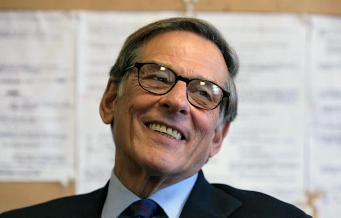 """FILE - In this Aug. 20, 2008 file photo, author and biographer Robert Allan Caro smiles during an interview in New York. Caro's fourth Lyndon Johnson book, """"The Passage of Power,"""" won the National Books Critics Circle biography prize Thursday, Feb. 28, 2013. It's the third time he has been honored by the critics circle. (AP Photo/Bebeto Matthews, file)"""