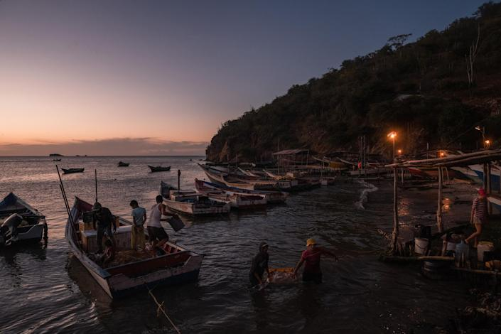 Fishermen unload their catch in Guaca, Venezuela on Nov. 29, 2020. (Adriana Loureiro Fernandez/The New York Times)