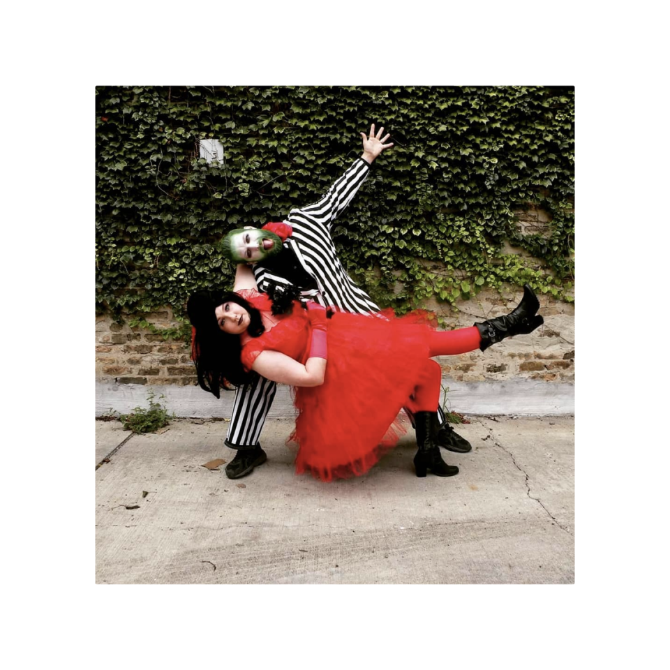"""<p>If you're looking for a creative couple's costume, conjure up this dynamic duo straight out of the 80s. </p><p><a class=""""link rapid-noclick-resp"""" href=""""https://www.amazon.com/Smiffys-43536L-Humbug-Suit/dp/B00IKL8HAG/ref=sr_1_4?keywords=beetlejuice+costume&qid=1565273005&s=gateway&sr=8-4&tag=syn-yahoo-20&ascsubtag=%5Bartid%7C10072.g.28615520%5Bsrc%7Cyahoo-us"""" rel=""""nofollow noopener"""" target=""""_blank"""" data-ylk=""""slk:SHOP BEETLEJUICE COSTUME"""">SHOP BEETLEJUICE COSTUME</a></p><p><a class=""""link rapid-noclick-resp"""" href=""""https://www.amazon.com/Women-Layers-Tulle-Skirt-forWedding/dp/B07WYXMLWY/?tag=syn-yahoo-20&ascsubtag=%5Bartid%7C10072.g.28615520%5Bsrc%7Cyahoo-us"""" rel=""""nofollow noopener"""" target=""""_blank"""" data-ylk=""""slk:SHOP RED SKIRT"""">SHOP RED SKIRT</a></p>"""