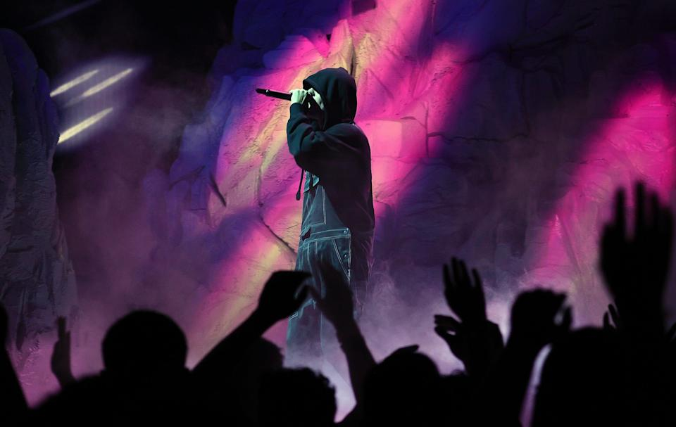 Justin Bieber performs at the 2021 VMAs in New York City.