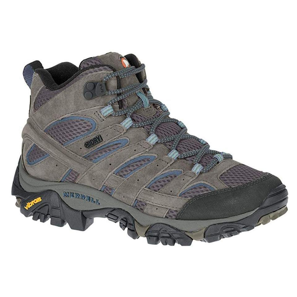 """<p><strong>Merrell</strong></p><p>amazon.com</p><p><strong>$134.95</strong></p><p><a href=""""https://www.amazon.com/dp/B01HFL8LY8?tag=syn-yahoo-20&ascsubtag=%5Bartid%7C2141.g.32869392%5Bsrc%7Cyahoo-us"""" rel=""""nofollow noopener"""" target=""""_blank"""" data-ylk=""""slk:Shop Now"""" class=""""link rapid-noclick-resp"""">Shop Now</a></p><p>Treat your feet right with these well-made hiking boots that comfort and protect you with a contoured EVA footbed, a shock-absorbing air cushioned heel, and mesh lining panels for air filtration. The brand's M-Select Dry technology is designed to keep water out while wicking-away moisture from sweat. It's also made with a rugged Vibram sole that has deep grooves for a slip-proof walk. </p>"""