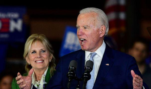 PHOTO: Democratic presidential hopeful former Vice President Joe Biden accompanied by his wife Jill Biden, speaks during a Super Tuesday event in Los Angeles on March 3, 2020. (Frederic J. Brown/AFP via Getty Images)