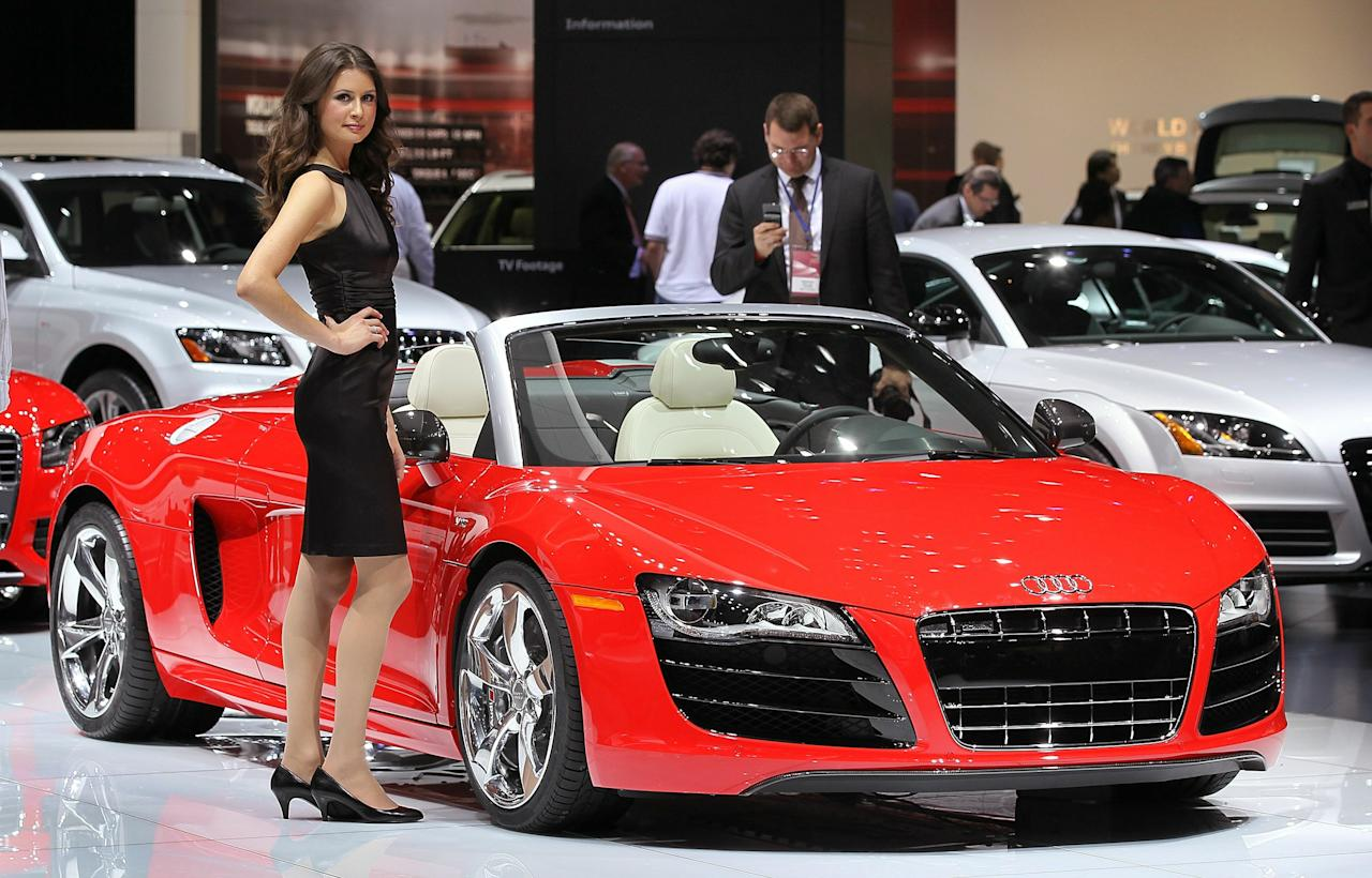 DETROIT, MI - JANUARY 11:  Audi displays their R8 during the press preview of the North American International Auto Show at the Cobo Center on January 11, 2011 in Detroit, Michigan. The show is currently opened only for media previews and opens to the general public January 15-23.  (Photo by Scott Olson/Getty Images)