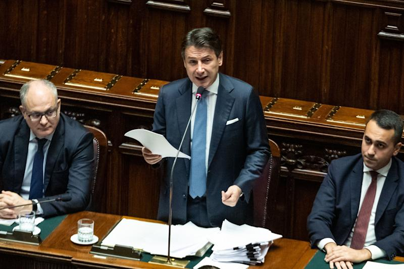 ROME, ITALY - 2019/12/02: The Italian Prime Minister Giuseppe Conte, the Italian Minister of Economy, Finance Roberto Gualtieri and the Foreign Minister Luigi Di Maio attend the information on the changes to the Treaty on the European stability mechanism (MES) at the Chamber of Deputies in Montecitorio. (Photo by Cosimo Martemucci/SOPA Images/LightRocket via Getty Images) (Photo: SOPA Images via Getty Images)