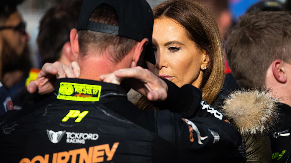 James Courtney and Kyly Clarke, pictured here at the Bathurst 1000 together.