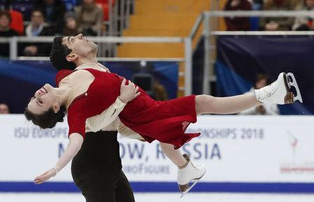 Figure Skating - ISU European Championships 2018 - Ice Dance Free Dance - Moscow, Russia - January 20, 2018 - Anna Cappellini and Luca Lanotte of Italy compete. REUTERS/Grigory Dukor
