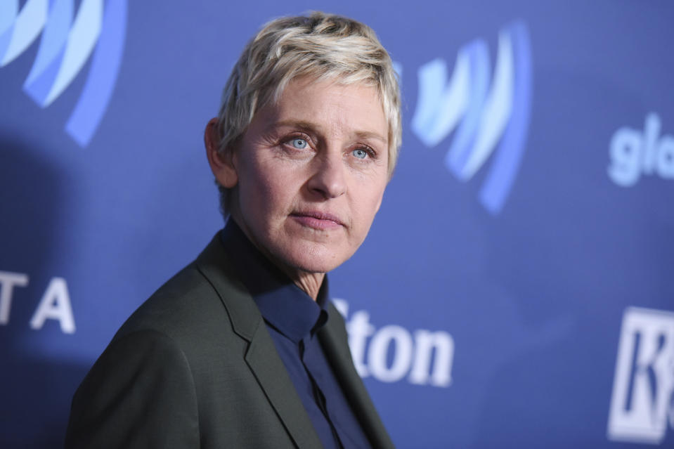 FILE - In this March 21, 2015, file photo, Ellen DeGeneres arrives at the 26th Annual GLAAD Media Awards held at the Beverly Hilton Hotel, in Beverly Hills, Calif. On the Feb. 23, 2017, episode of her chat show, DeGeneres handed out four-year scholarships paid for by Wal-Mart to the entire senior class of a New York City charter school. (Photo by Richard Shotwell/Invision/AP, File)