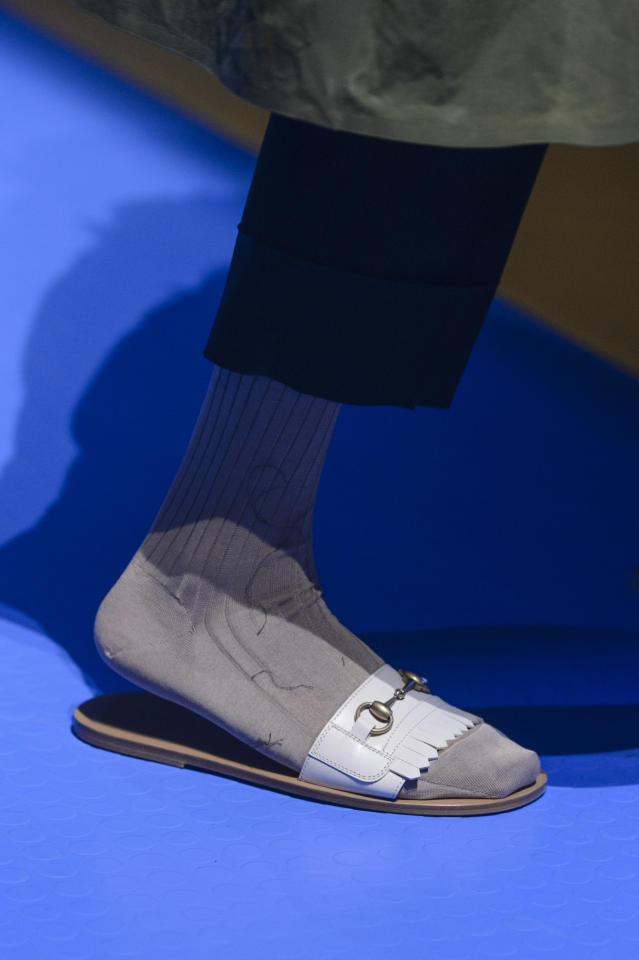 <p><i>White fringe leather slides from the SS18 Gucci collection. (Photo: ImaxTree) </i></p>