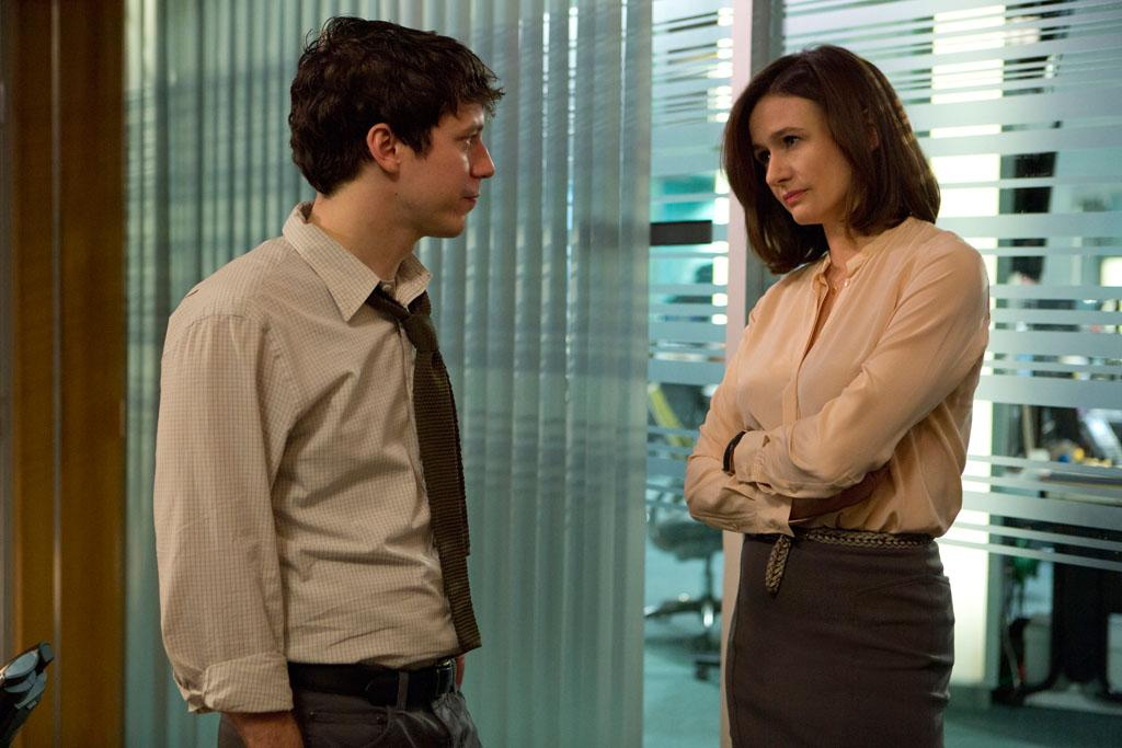 "John Gallagher and Jr., Emily Mortimer in HBO's ""The Newsroom"" Season 2 Premiere, ""First Thing We Do, Let's Kill All the Lawyers."""