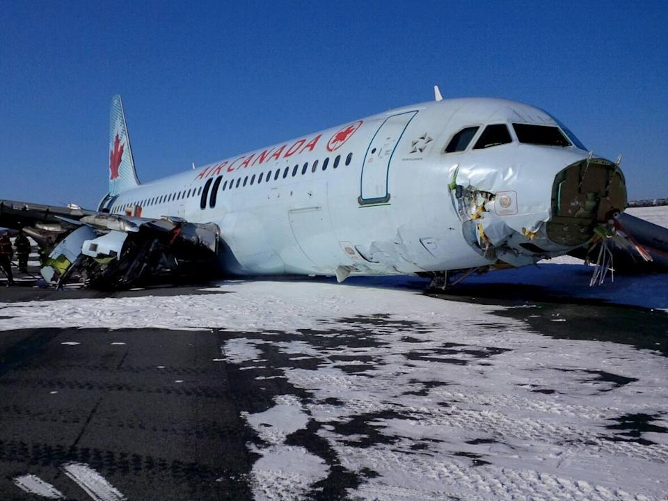 The plane's nose broke off, as did one of the engines when it crashed on March 29, 2015. (Reuters - image credit)