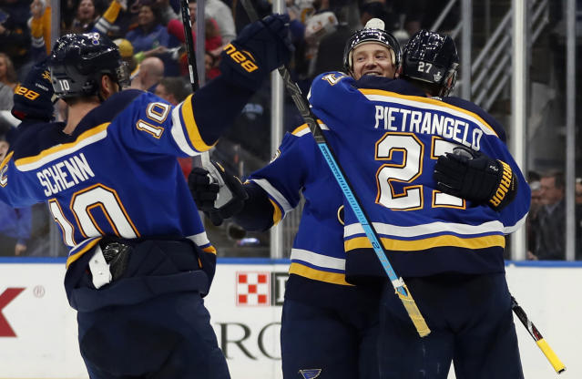 St. Louis Blues' Jay Bouwmeester celebrates with teammates Brayden Schenn (10) and Alex Pietrangelo after defeating Winnipeg Jets in Game 6 of an NHL first-round hockey playoff series, Saturday, April 20, 2019, in St. Louis. (AP Photo/Jeff Roberson)