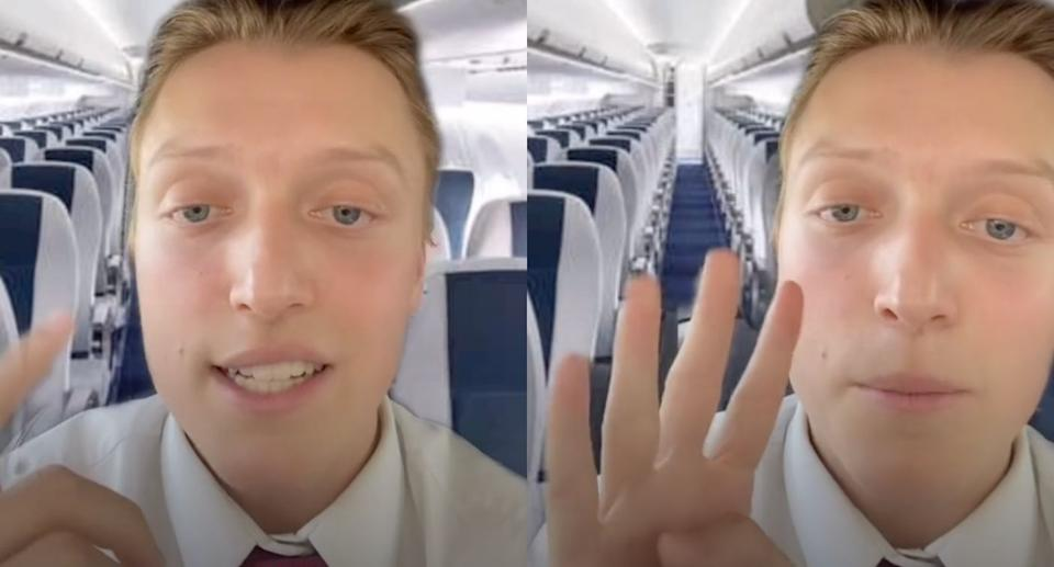 Tommy Cimato went viral for sharing a list of five things travellers should never do on an airplane. (Images via TikTok/TommyCimato)