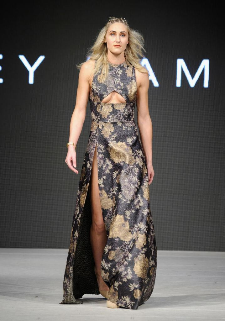 <p>A model walks the runway wearing Lesley Hampton during day five of Vancouver Fashion Week Fall/Winter 2017 </p>