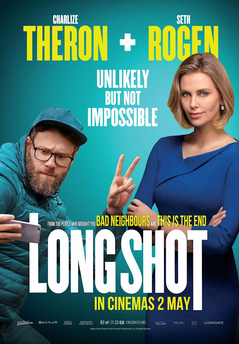 "Charlize Theron and Seth Rogen star in romantic comedy ""Long Shot""."