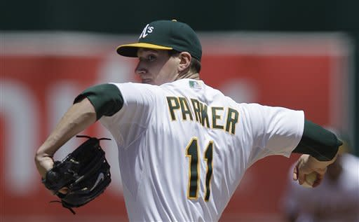 Oakland Athletics' Jarrod Parker works against the Detroit Tigers during the inning of a baseball game Sunday, May 13, 2012, in Oakland, Calif. (AP Photo/Ben Margot)