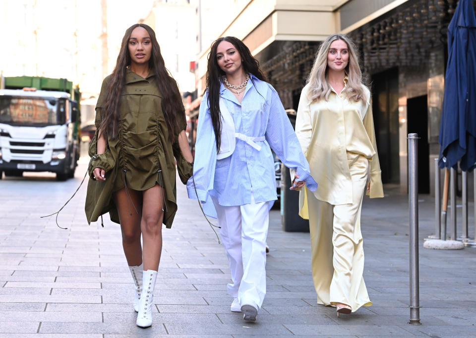 LONDON, ENGLAND - APRIL 30: Leigh-Anne Pinnock, Jade Thirlwall and Perrie Edwards of Little Mix arrive at Global radio studios on April 30, 2021 in London, England. (Photo by Karwai Tang/WireImage)