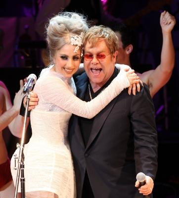 Lady Gaga and Elton John perform on stage during the Almay concert to celebrate the Rainforest Fund's 21st birthday at Carnegie Hall, NYC, May 13, 2010 -- Getty Premium
