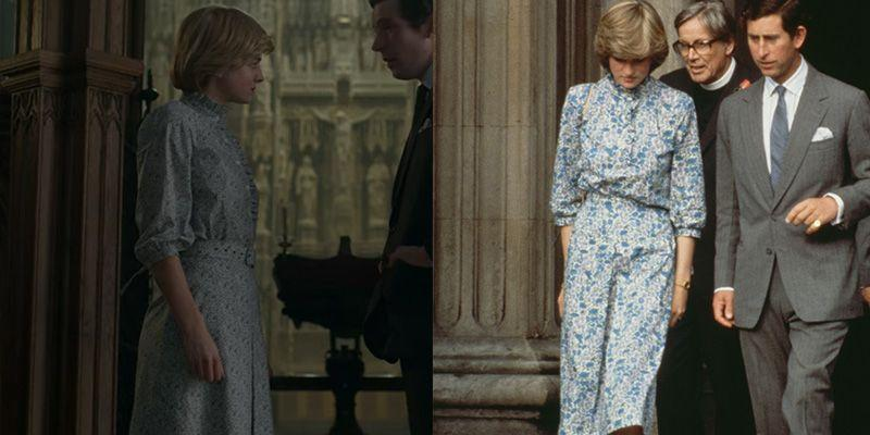 <p>In a pivotal scene, just days before their wedding <em>The Crown </em>depicts Prince Charles and Diana arguing over Camilla Parker Bowles at the altar of St. Paul's Cathedral. As the show is fiction<em>, </em>we have no way of knowing whether the disagreement actually took place then and there, we do however know that Emma Corrin was wearing an almost identical floral frock to Princess Diana's wedding rehearsal dress in 1981. </p>