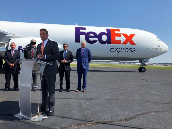 Tennessee Gov. Bill Lee addresses reporters at a news conference announcing an investment by shipping giant FedEx Corp. of $450 billion to help modernize its Memphis hub on Friday. Aug.2, 2019 in Memphis, Tenn. (AP Photo/Adrian Sainz)