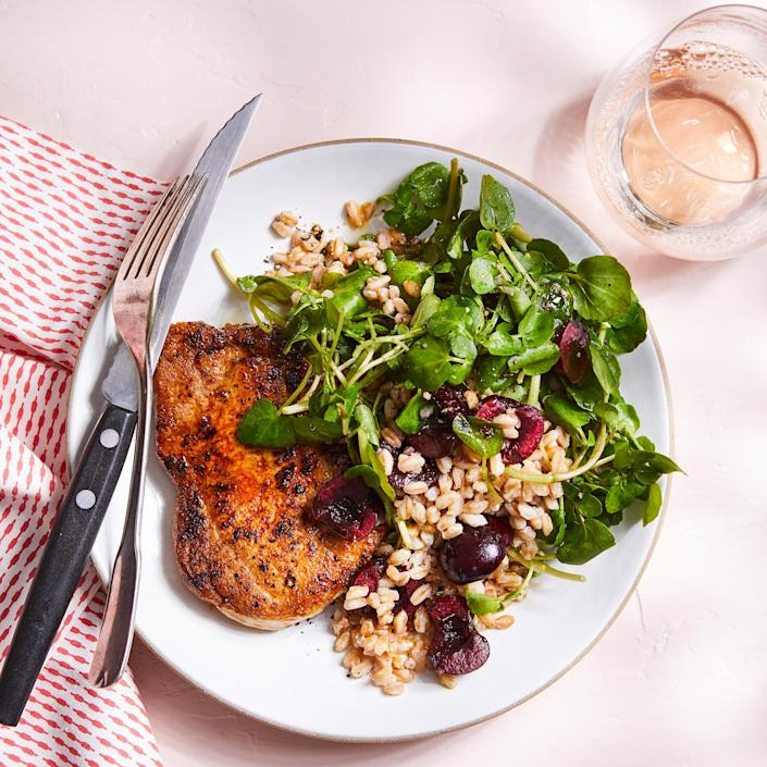 <p>Most farro sold in stores is pearled, meaning the bran is removed and it therefore has a little less fiber—but it still brings 2 grams per serving to this dish. It cooks quicker than harder-to-find whole farro, so be sure to double-check the cooking time on the package.</p>