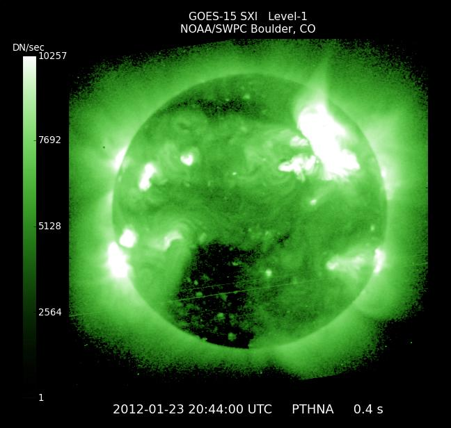 IN SPACE - JANUARY 23:  In this handout from the NOAA/National Weather Service's Space Weather Prediction Center, shows a solar flare erupting from the sun late January 23, 2012. The flare is reportedly the largest since 2005 and is expected to affect GPS systems and other communications when it reaches the Earth's magnetic field in the morning of January 24.  (Photo by NOAA/National Weather Service's Space Weather Prediction Center via Getty Images)