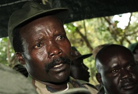 Leader of the Lord's Resistance Army Kony speaks to journalists after a meeting with UN humanitarian chief Egeland at Ri-Kwamba