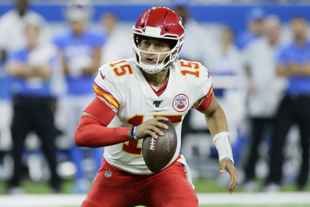 Patrick Mahomes is only running 25 yards if he knows the play will count. (AP Photo/Duane Burleson)
