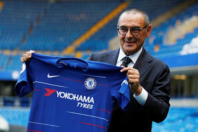 Soccer Football - Premier League - Chelsea present new manager Maurizio Sarri - Stamford Bridge, London, Britain - July 18, 2018 New Chelsea manager Maurizio Sarri poses with the club shirt after the press conference Action Images via Reuters/John Sibley