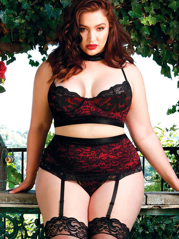 Hips & Curves Microfiber and Stretch Lace Bra and Garter Skirt Set. (Photo: Hips & Curves)