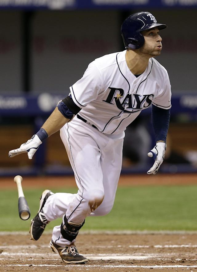 Tampa Bay Rays' Kevin Kiermaier flips his bat after hitting a home run off Miami Marlins starting pitcher Jacob Turner during the fifth inning of an interleague baseball game Thursday, June 5, 2014, in St. Petersburg, Fla. (AP Photo/Chris O'Meara)