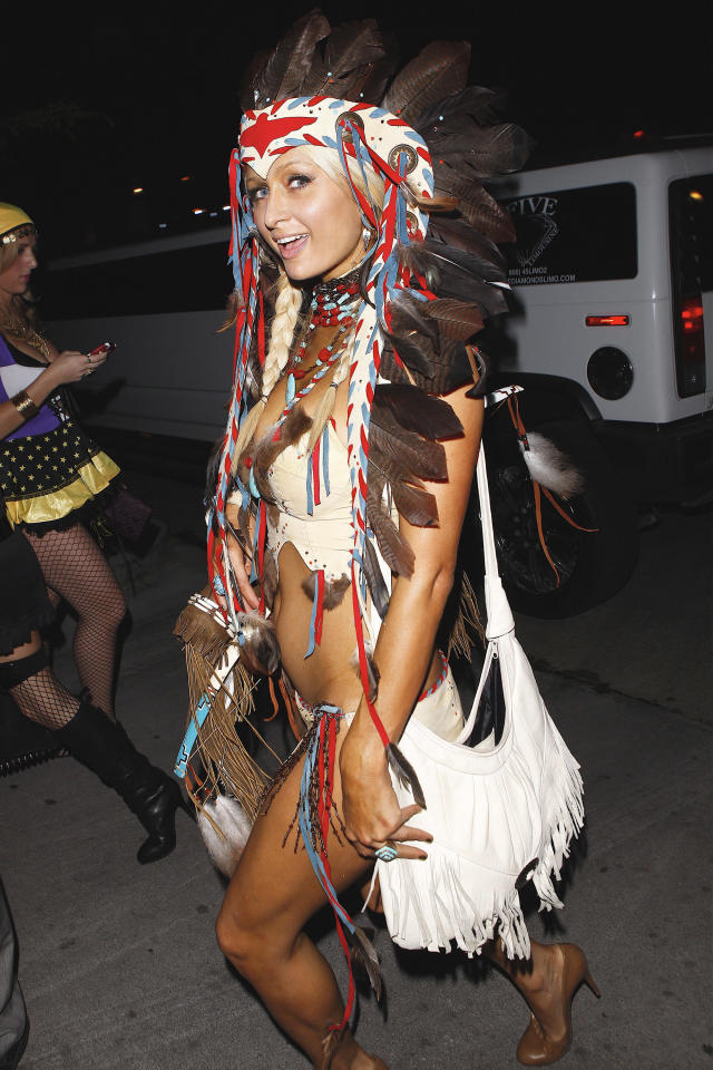 <p>Years before, in 2010, the socialite also offended as a sexy Native American. (Photo: X17) </p>