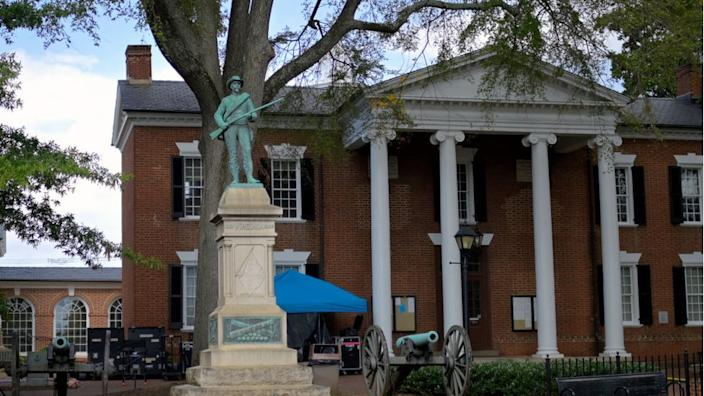 The statue had stood in front of the Albemarle County courthouse for 111 years